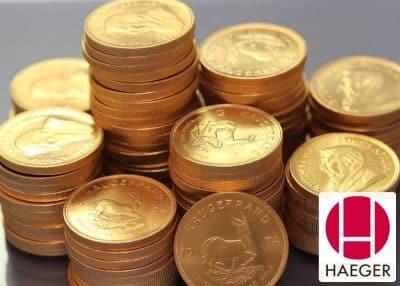 Exemplar einer Goldmünze