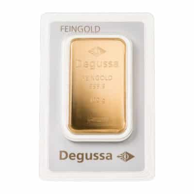100g Goldbarren Degussa in Verpackung Vorderseite