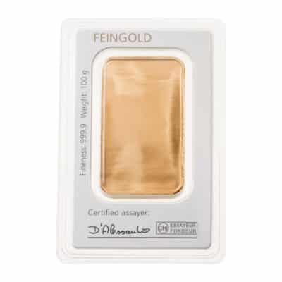 100g Goldbarren Degussa in Verpackung Rückseite