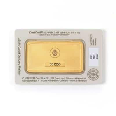 100g Goldbarren Hafner in Verpackung Rückseite