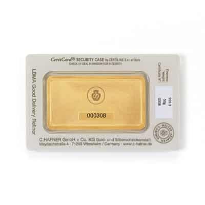 50g Goldbarren Hafner in Verpackung Rückseite