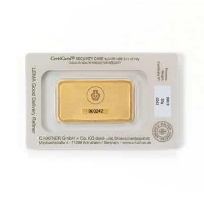 20g Goldbarren Hafner in Verpackung Rückseite