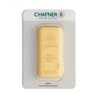 1000g Goldbarren Hafner in Verpackung Vorderseite