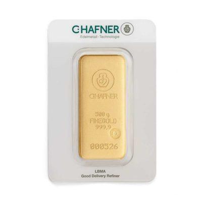 500g Goldbarren Hafner in Verpackung Vorderseite