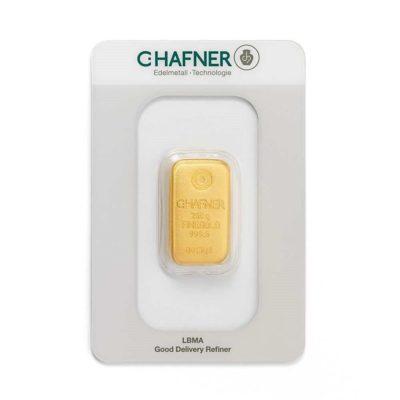 250g Goldbarren Hafner in Verpackung Vorderseite