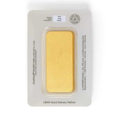 1000g Goldbarren Hafner in Verpackung Rückseite