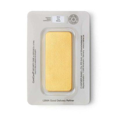 500g Goldbarren Hafner in Verpackung Rückseite