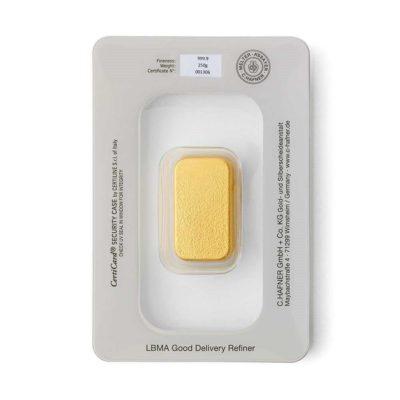 250g Goldbarren Hafner in Verpackung Rückseite