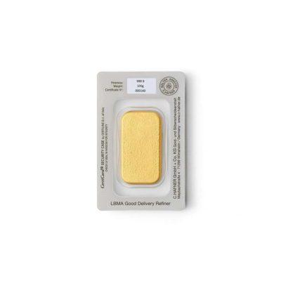 100g Goldbarren Hafner in Verpackung Rückseite Detailansicht