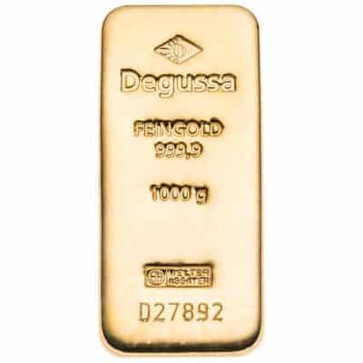 1000g Goldbarren Degussa Vorderseite
