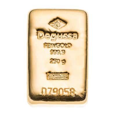 250g Goldbarren Degussa Vorderseite