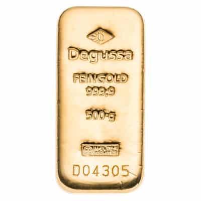 500g Goldbarren Degussa Vorderseite