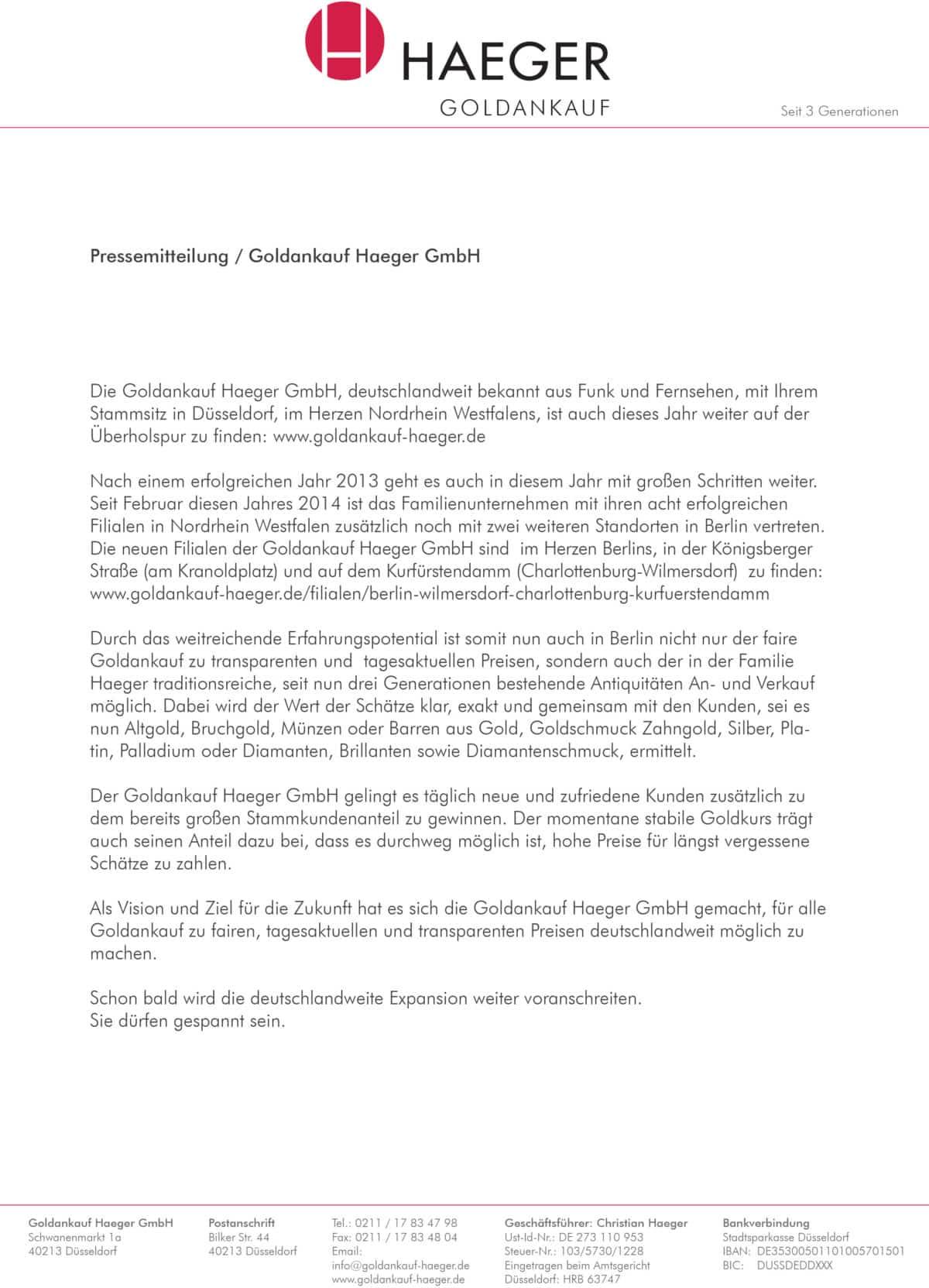Goldankauf Haeger Pressemitteilung