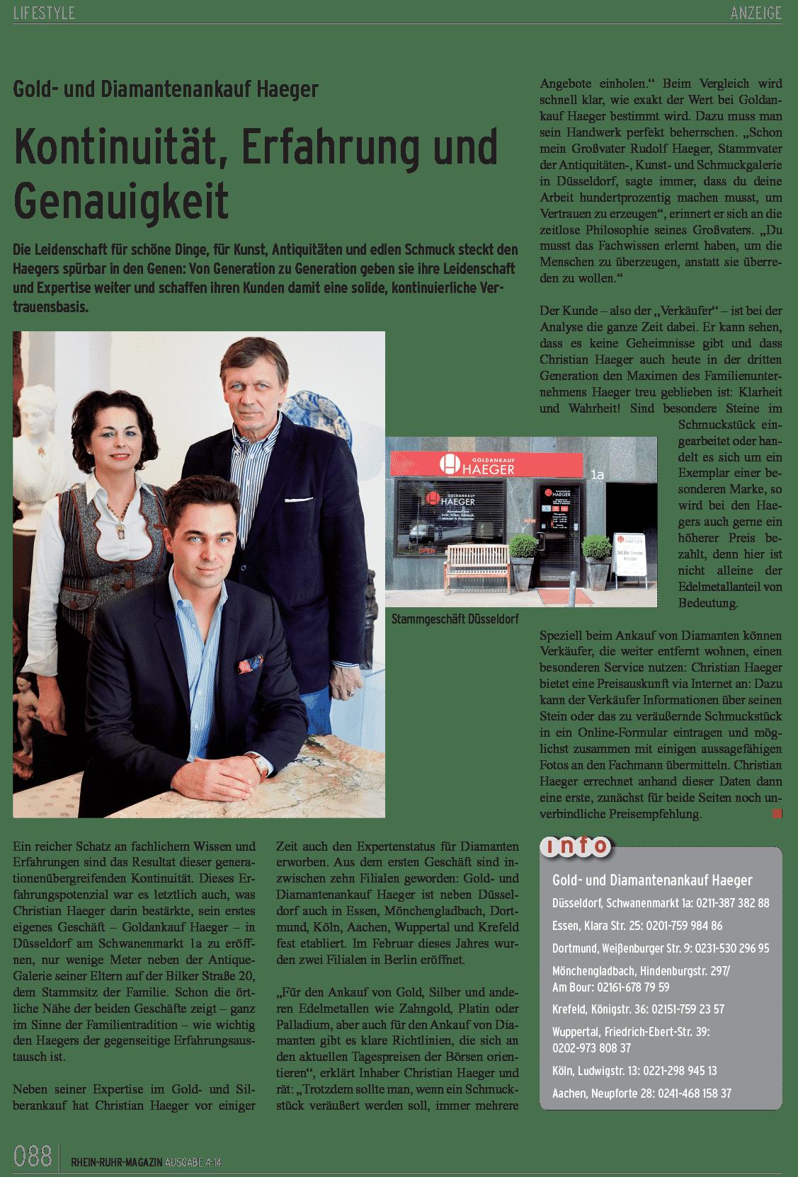 Die Haeger GmbH im Rhein Ruhr Magazin