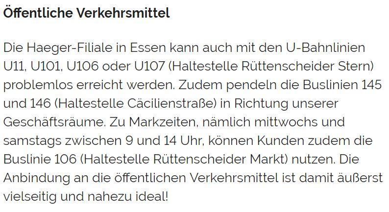 Anfahrt Haeger in Essen