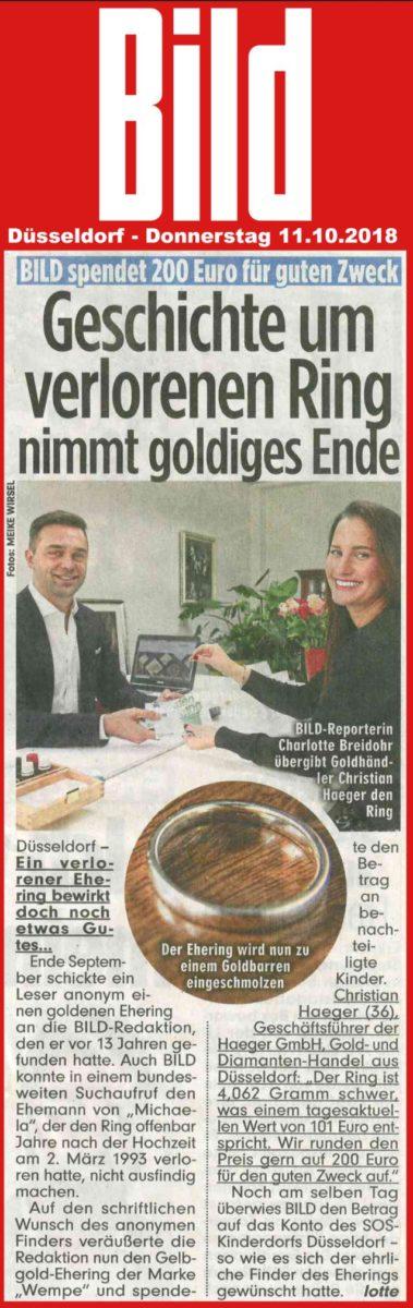 Goldankauf Haeger in der BILD Zeitung